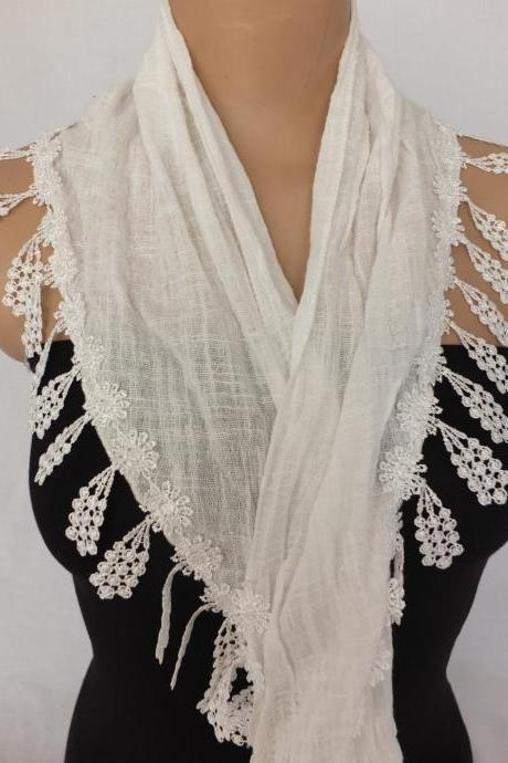white cotton scarf, cowl with lace flower trim,womenfashion scarf,neckwarmer, foulard,scarflette