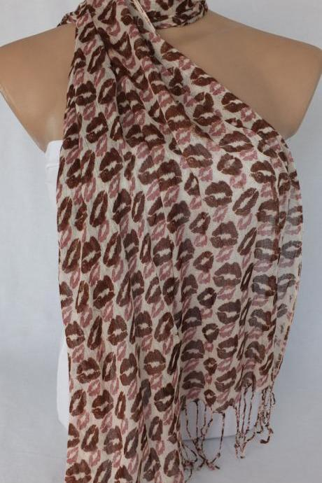 Brown scarf, lips printed scarf, woman fashion scarf, colorful scarf, fabric shawl, gift for her