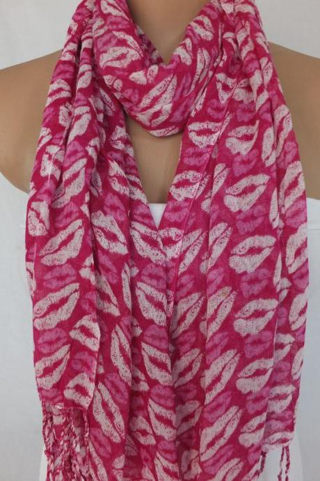 Pink fringed scarf, lips printed scarf, woman fashion scarf, long scarf, multicolor scarf, fabric shawl, gift for her