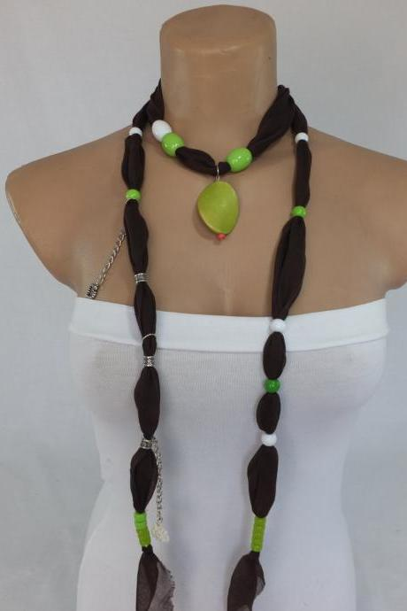 Brown scarf necklace ,beaded necklace, lariat necklace, necktie, woman jewelry, gift for her