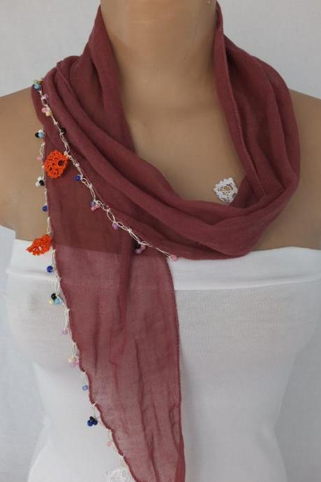 cherry color scarf, cotton scarf with bead and crochet flower trim , Turkish oya scarf,scarf necklace, foulard,scarflette,