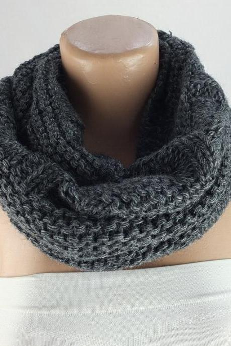 Chunky knit infinity scarf, charcoal gray scarf , loopy scarf, woman scarf, circle scarf,ring scarf,woman scarf, gift for her