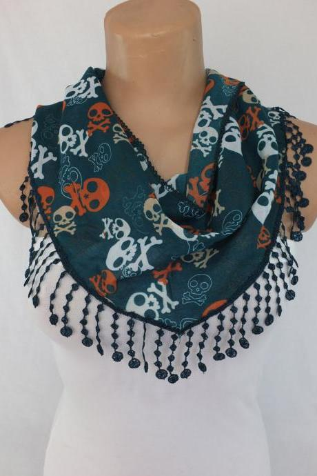 Skulls scarf , green fashion scarf, cowl with lace trim,summer scarf, bib scarf , foulard,scarflette,