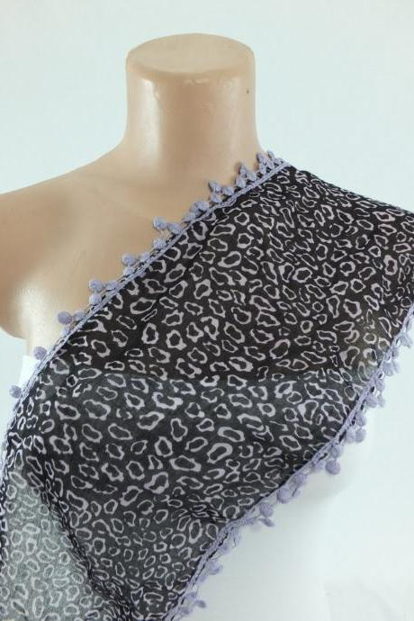 Leopard print scarf , black-lilac cotton scarf, woman fashion scarf, cowl with flower lace trim,neckwarmer, foulard,gift fo