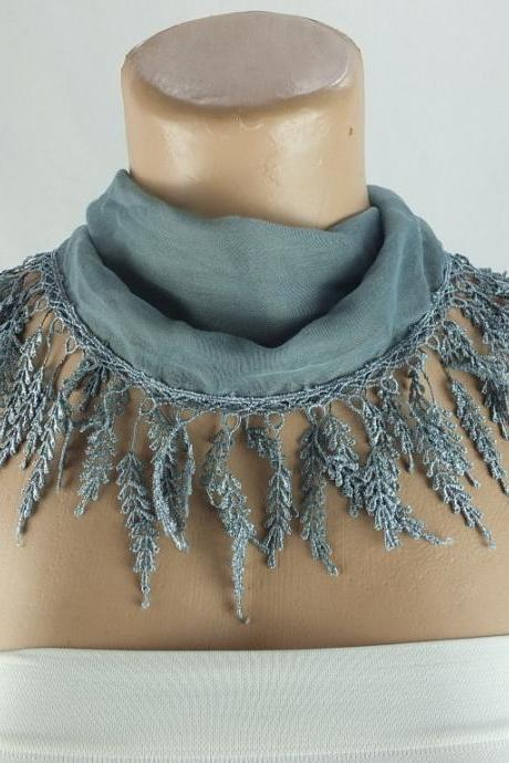 Blue gray scarf , lace trim scarf, fringed scarf, Cotton foulard, Neck scarf, cotton foulard, gift ideas for her