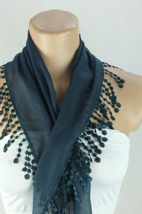 Dark green scarf, fashion scarf, cotton scarf, cowl with polyester trim,neckwarmer, scarf necklace, foulard,scarflette,