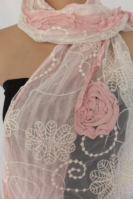 Embroidery tulle and cotton scarf, Pale pink and cream scarf, womans fashipn scarf, long scarf shawl, gift for her
