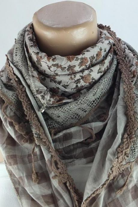 Three layer scarf, brown floral scarf shawl, multicolor cowl, stole, capelet , shrug ,fashion winter scarf, gift for her