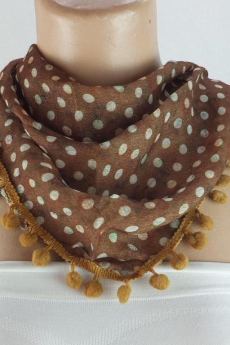 Brown scarf , cotton scarf with pompom trim, brown cowl, polka dots triangle scarf shawl, gift ideas for her