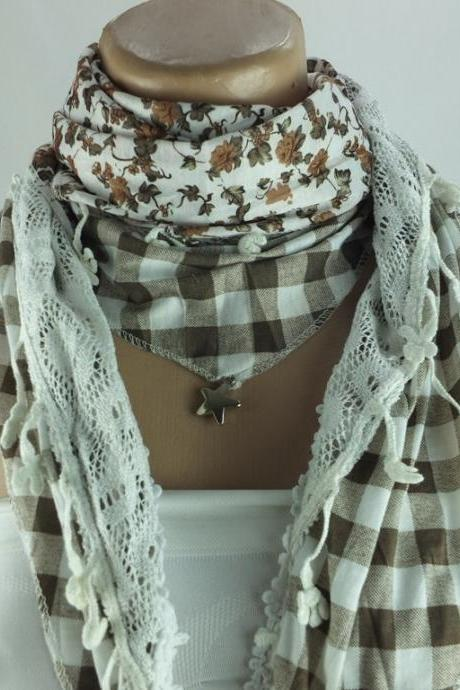 Three layer scarf, floral scarf shawl, multicolor cowl, brown and cream stole, capelet , shrug ,fashion winter scarf, gift for her