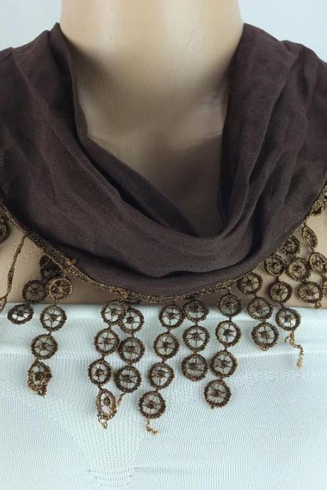 Brown cotton scarf, cowl with polyester trim,neckwarmer, scarf necklace, foulard,scarflette,Womens scarves, christmas gift ideas for her
