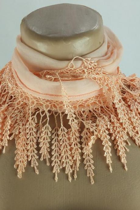 Peach salmon scarf , lace trim scarf, fringed scarf, Cotton foulard, Neck scarf, cotton foulard, gift ideas for her