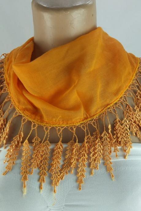 Light orange scarf , lace trim scarf, fringed scarf, Cotton foulard, Neck scarf, cotton foulard, gift ideas for her