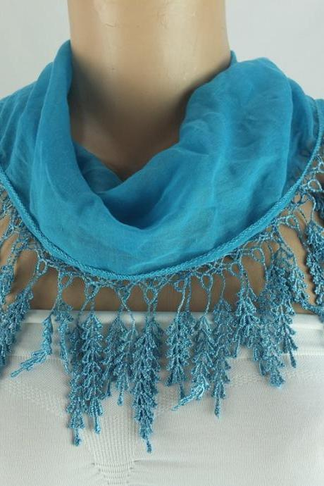 Blue-green fringed scarf , lace trim scarf, fringed scarf, Cotton foulard, Neck scarf, cotton foulard, gift ideas for her