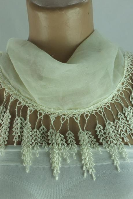 Cream color scarf , lace trim scarf, blue fringed scarf, Cotton foulard, cotton foulard, gift ideas for her,bridesmate gift