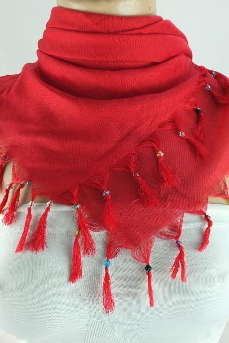 Red scarf with cyrstal beads, Square head scarf,traditional Turkish scarf shawl, Fabric shawl, Christmas gift for her,