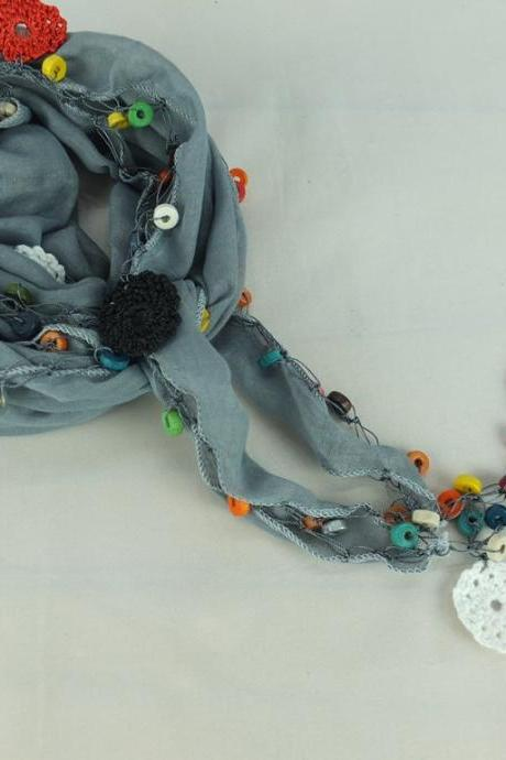 Gray scarf with crochet flower edges ,scarflette , cowl with crochet flowers , scarf necklace, cotton blue foulard, gift for her