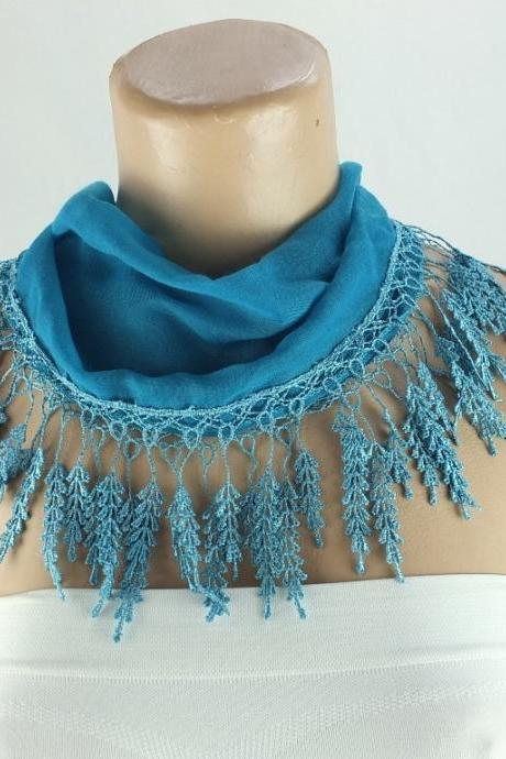 Patrol blue scarf , lace trim scarf, blue fringed scarf, Cotton foulard, blue scarf , cotton foulard, gift ideas for her