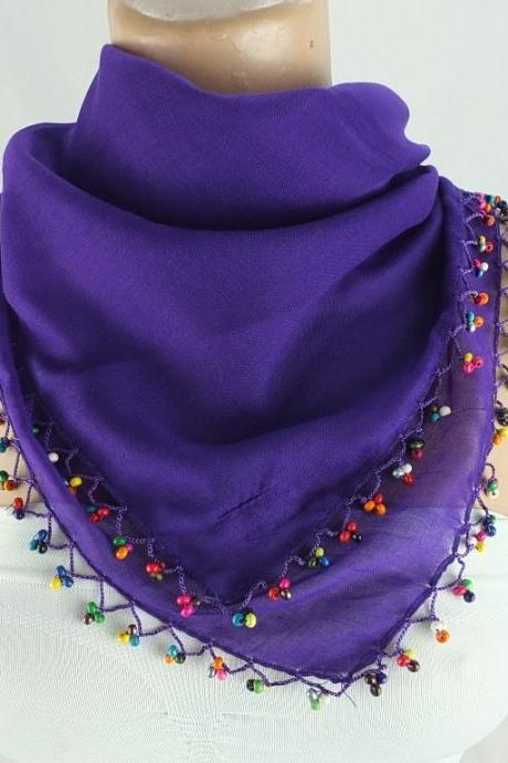 Womens headscarf , Crochet bead trim scarf, Dark purple scarf, Fabric shawl, Christmas gift for her