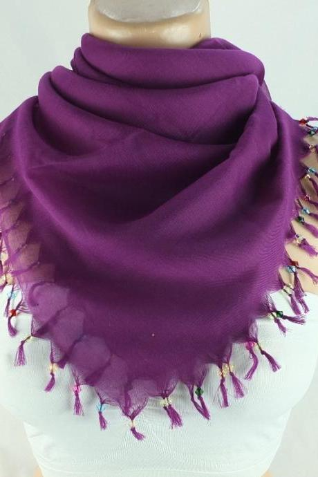 Womens Head scarf with cyrstal bead edges , Dark Plum scarf, square scarf, Turkish scarf shawl, Fabric shawl, Christmas gift for her,