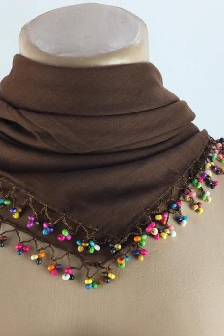Brown scarf wtih crochet bead edges , Turkish scarf, Square headscarf, Beaded scarf, gift for her,Fabric shawl, Christmas gift