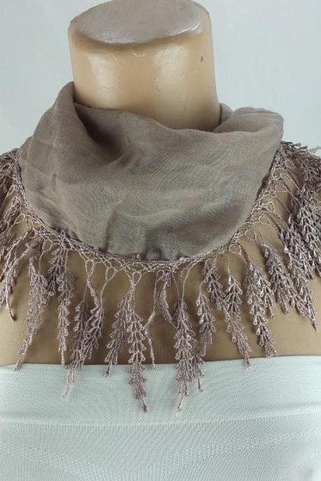 Soft Cotton scarf, fringed scarf, Cotton foulard, light brown scarf , cotton foulard, gift ideas for her