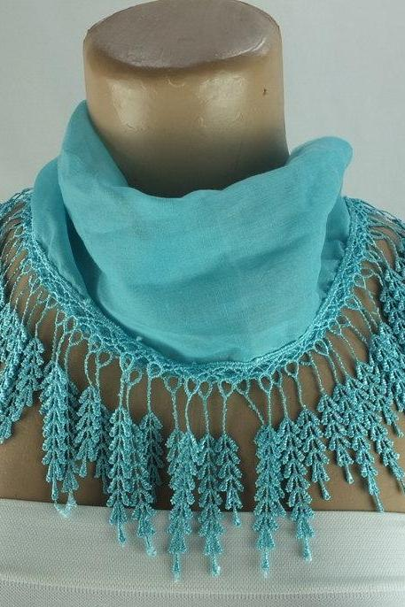 Light blue scarf , lace trim scarf, Coral blue fringed scarf, Cotton foulard, Coral blue scarf , cotton foulard, gift ideas for her