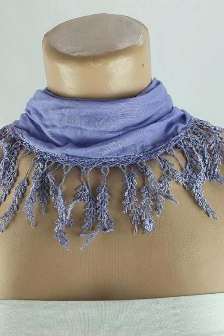 Lilac scarf , lace trim scarf, fringed scarf, Cotton foulard, Neck scarf, cotton foulard, gift ideas for her