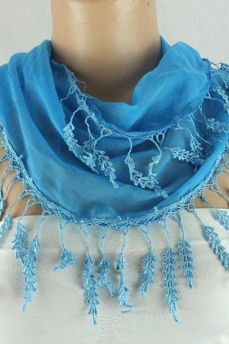 Blue fringed scarf , lace trim scarf, fringed scarf, Cotton foulard, Neck scarf, cotton foulard, gift ideas for her