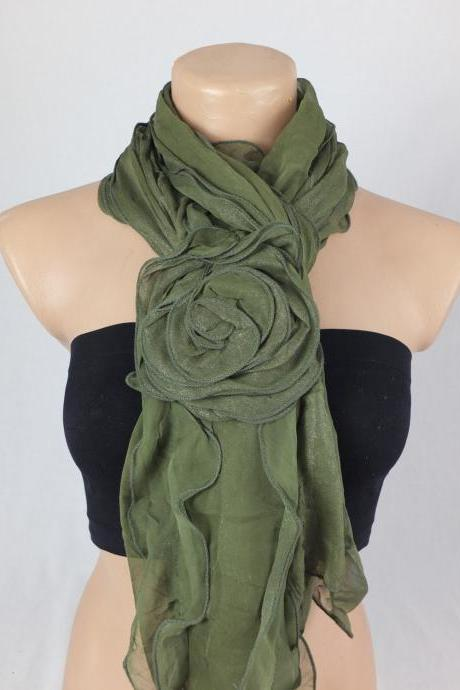 Green scarf Shawl , 3d Rose scarf shawl, Ruffle woman scarf, Christmas gift, gift for her