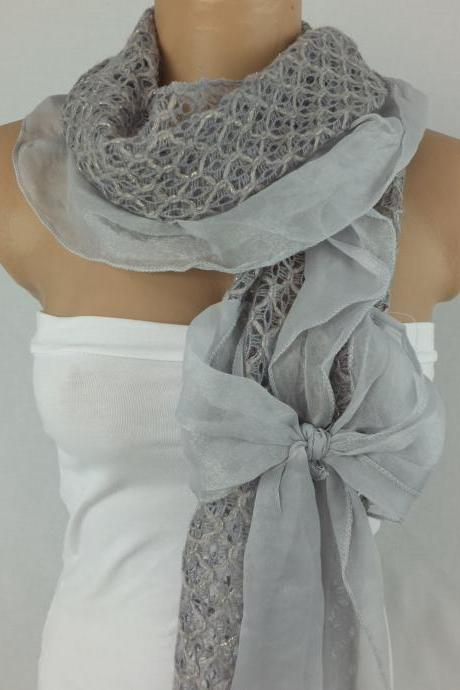 gray scarf shawl, bow tie scarf,knit fabric and chiffon scarf, elegant woman scarf, Christmas gift, gift for her