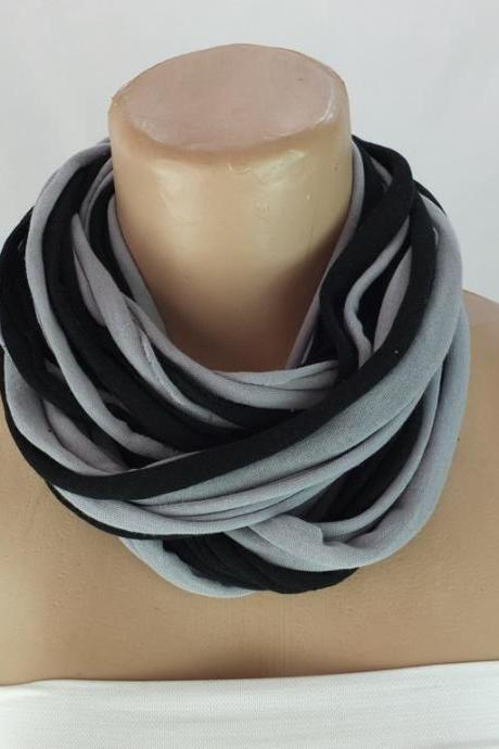 Black and gray Infinity Scarf, Long ring scarf, Fabric Necklace, Scarf necklace, Gift ideas for her , Chunky tshirt scarf