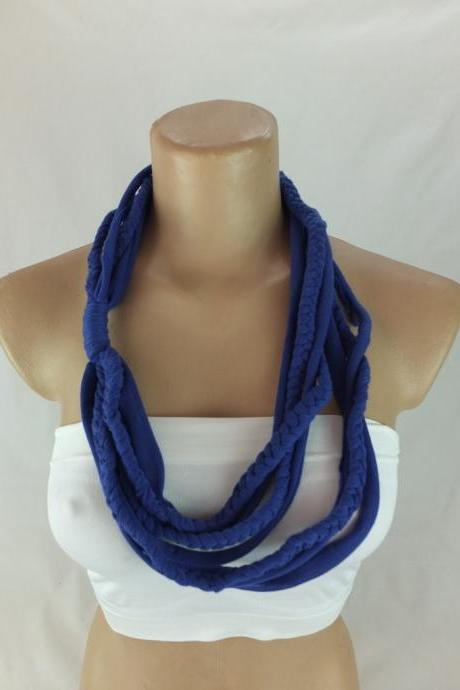 Dark blue Infinity Scarf, Braided scarf, Fabric Necklace, Necklace scarf, Scarf necklace, Gift ideas for her , Chunky tshirt scarf