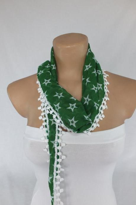 Green cotton scarf, cowl with polyester trim,neckwarmer, scarf necklace, foulard,scarflette,