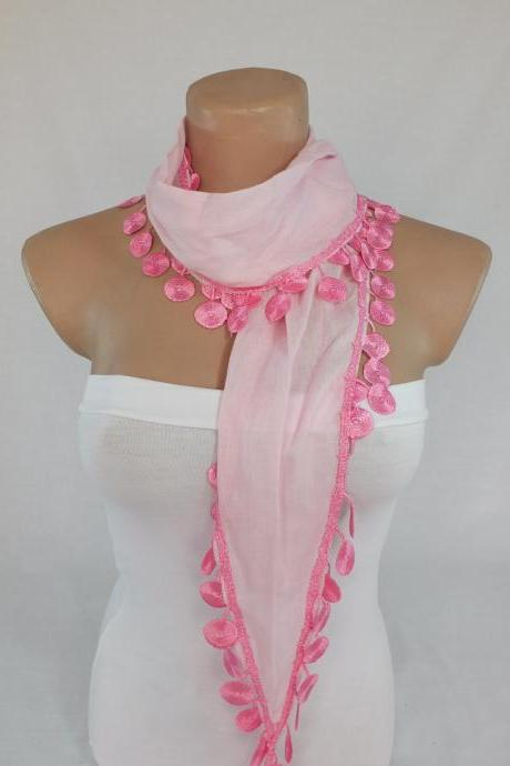 Light pink cotton scarf, yellow-orange fashion scarf, cowl with lace flower trim,women accessory,neckwarmer foulard