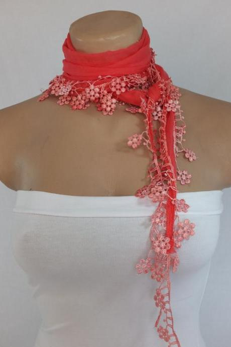 Pink-salmon cotton scarf, woman fashion scarf, cowl with flower lace trim,women accessory,neckwarmer, scarf necklace, foulard,scarflette,