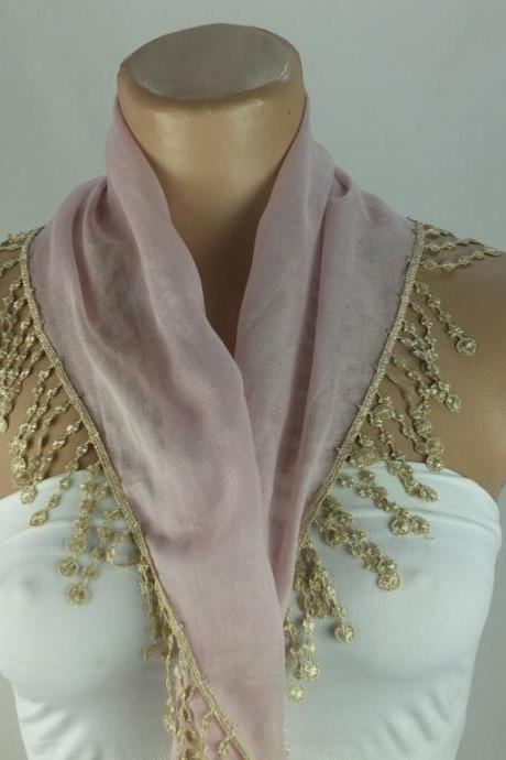 Powder pink scarf, cotton scarf, cowl with polyester trim, Cotton neckwarmer, scarf necklace, womens foulard,scarflette, Christmast gift