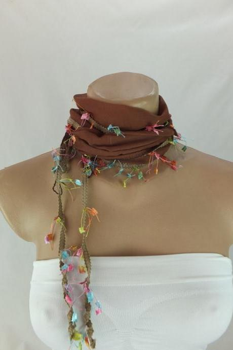 Brown cotton scarf, Trendy fashion scarf, cowl with fancy trim,women accessory,necktie,neckwarmer, scarf necklace, foulard,scarflette,