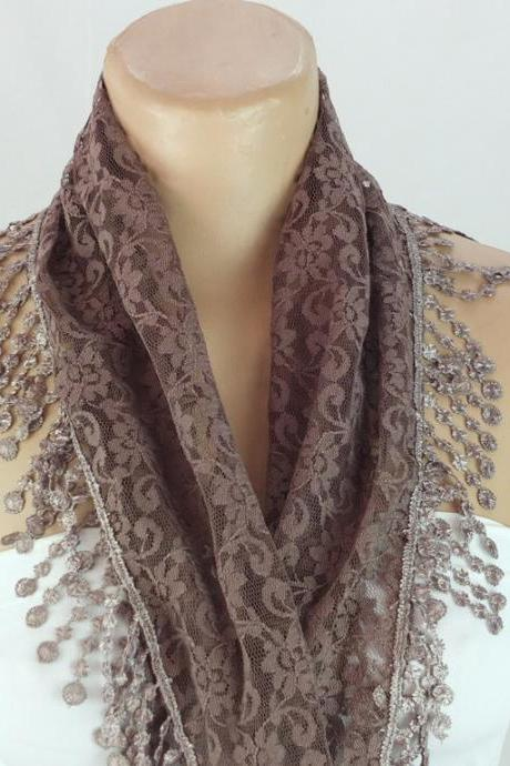 Light brown lace scarf , black cowl with lace trim,summer scarf, neck scarf, foulard,scarflette,bandana