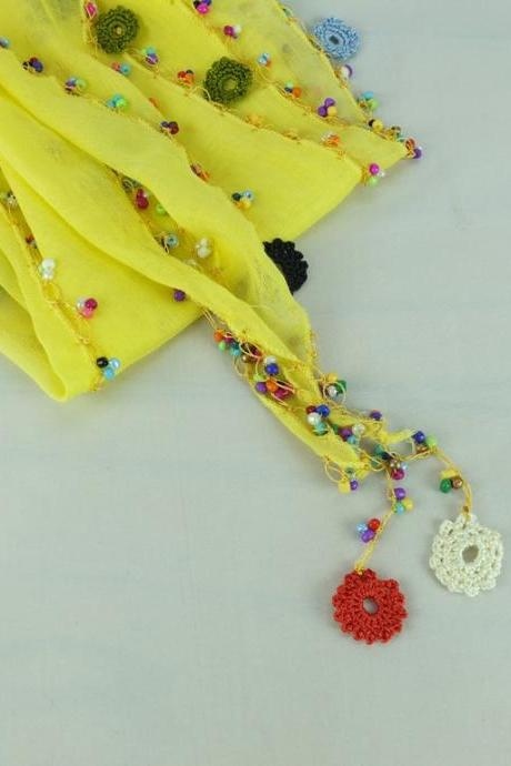 Yellow scarf, cotton scarf with crochet flower edges ,scarflette , cowl with crochet flowers , scarf necklace, foulard, gift for her