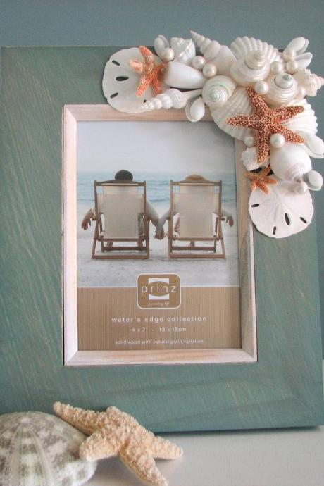 Seashell Frame for Beach Decor - Nautical Frame w Starfish, Sand Dollars & Pearls - 8x10 Aqua