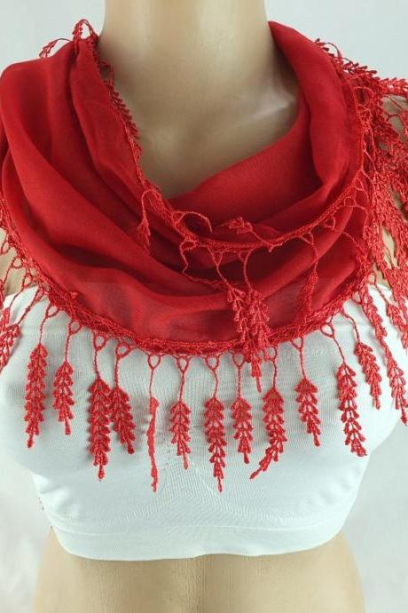 Red scarf , lace trim scarf, fringed scarf, Cotton foulard, Neck scarf, cotton foulard, gift ideas for her