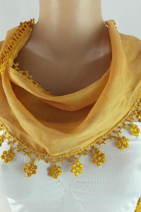 Ochre yellow scarf, fringed cotton scarf , cowl with lace flower trim,neckwarmer, scarf necklace, bridesmate gift, foulard,scarflette,