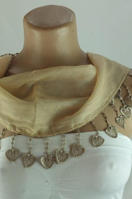 Camel-beige cotton scarf, cowl with heart trim,neckwarmer, scarf necklace, foulard,scarflette,Womens scarves, christmas gift ideas for her