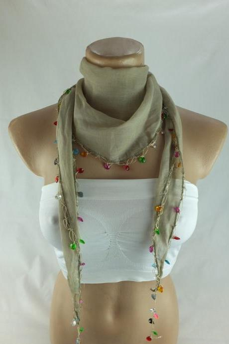 Cotton scarf, Beaded scarf, cotton cowl, scarflette, cotton foulard, neckwarmer, scarf necklace, foulard,gift ideas for her