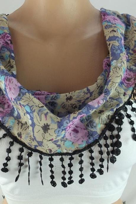 Floral scarf, fringed cotton scarf , cowl with lace trim,neckwarmer, scarf necklace, bridesmate gift, foulard,scarflette,