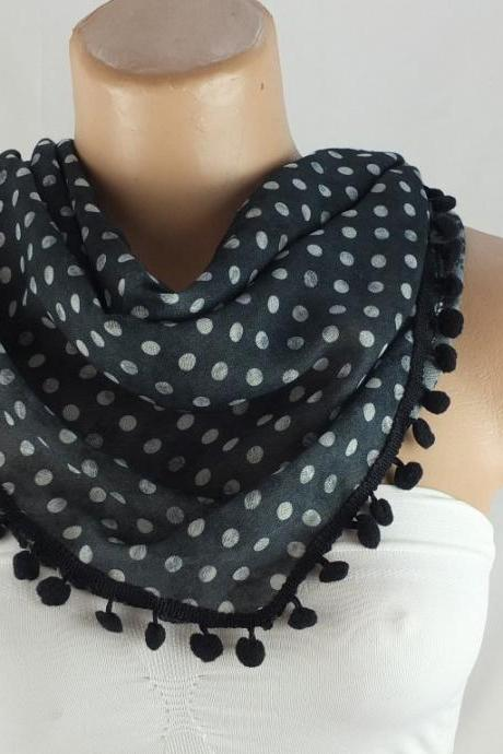 Black scarf , cotton scarf with pompom trim, green cowl, polka dots triangle scarf shawl, gift ideas for her