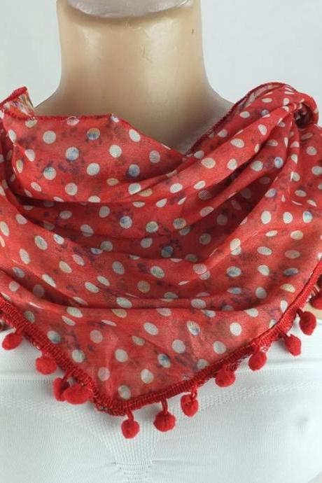 Red scarf , cotton scarf with pompom trim, green cowl, polka dots triangle scarf shawl, gift ideas for her