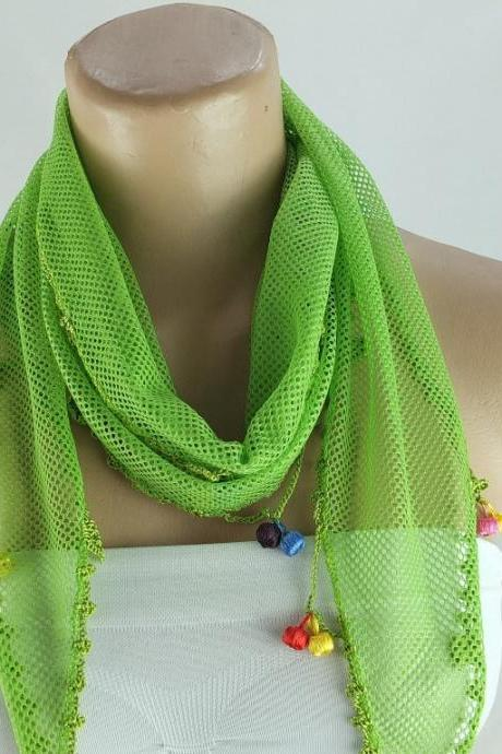 Neon green scarf , cowl with crochet edges, summer scarf, neck scarf, foulard,scarflette,bandana, hot pink scarf, gift ideas for her