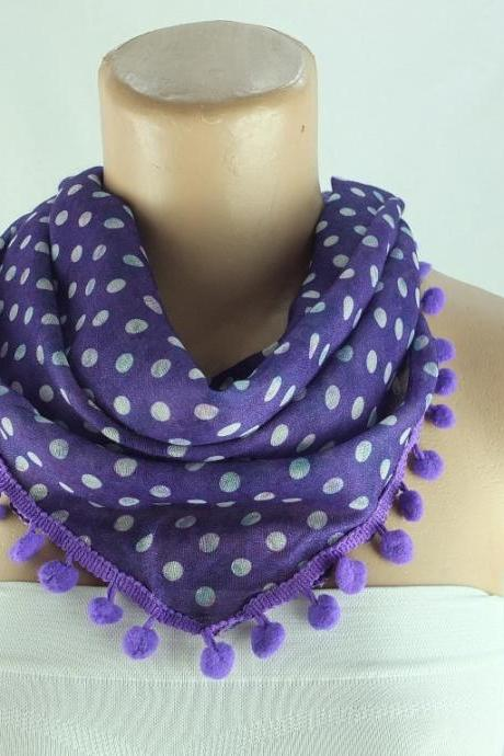Purple scarf , cotton scarf with pompom trim, purple cowl, polka dots triangle scarf shawl, gift ideas for her